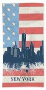 New York Skyline Usa Flag 4 Beach Towel