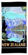 New Zealand Lake Matheson Vintage Travel Poster Beach Sheet