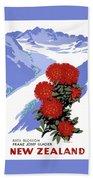 New Zealand Rata Blossom Vintage Travel Poster Beach Sheet