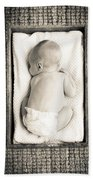 Newborn Baby In Crate Filtered Beach Towel