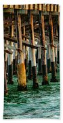 Newport Beach Pier Close Up Beach Towel