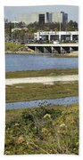 Newport Estuary And Nearby Businesses Beach Towel