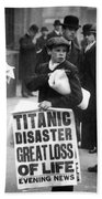 Newsboy Ned Parfett Announcing The Sinking Of The Titanic Beach Towel by English School