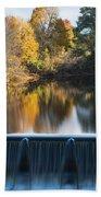 Newton Upper Falls Autumn Waterfall Reflection Beach Towel