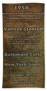 Nfl Championship Game 1958 Beach Towel