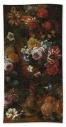 Nicolaes Van Veerendael Antwerp 1640 - 1691 Still Life Of Roses, Carnations And Other Flowers Beach Towel