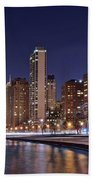 Night Lights On The Lakefront Beach Towel