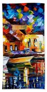 Night Riverfront - Palette Knife Oil Painting On Canvas By Leonid Afremov Beach Towel