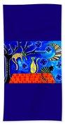 Night Shift - Cat Art By Dora Hathazi Mendes Beach Towel