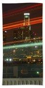 Night Shot Of Downtown Los Angeles Skyline From 6th St. Bridge Beach Towel