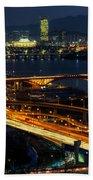 Night Traffic Over Han River In Seoul Beach Towel