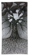 Night Tree Moon And We  Beach Towel