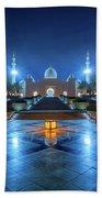 Night View At Sheikh Zayed Grand Mosque, Abu Dhabi, United Arab Emirates Beach Sheet