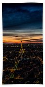 Night View Over Paris With Eiffel Tower Beach Towel