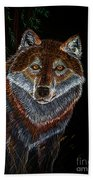 Night Wolf Beach Towel
