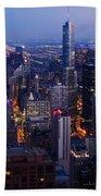 Nighttime Chicago Skyline Beach Towel by Kyle Hanson