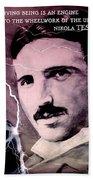 Nikola Tesla - Quote Beach Towel
