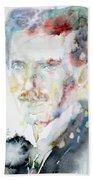 Nikola Tesla - Watercolor Portrait.3 Beach Towel