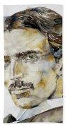 Nikola Tesla - Watercolor Portrait.6 Beach Towel