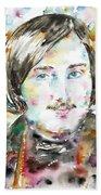 Nikolai Gogol - Watercolor Portrait Beach Towel