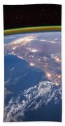 Nile River At Night From Iss Beach Towel