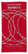 No023 My District9 Minimal Movie Poster Beach Towel