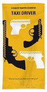 No087 My Taxi Driver Minimal Movie Poster Beach Towel