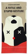 No893 My A Futile And Stupid Gesture Minimal Movie Poster Beach Towel
