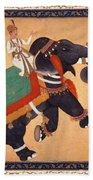 Nobleman Riding Elephant Beach Towel