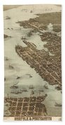 Norfolk And Portsmouth Map Beach Towel