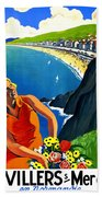 Normandy, French Riviera, Blond Woman With Flowers Beach Sheet