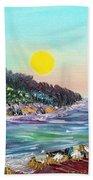 North With Yellow Sun Beach Towel
