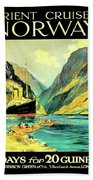 Norway Orient Cruises, Vintage Travel Poster Beach Towel