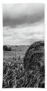 Nostalgia - Hay Bales In Field In Black And White Beach Towel