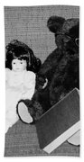 Nostalgic Doll And Bear With Reading Book Beach Towel
