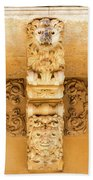 Noto, Sicily, Italy - Detail Of Baroque Balcony, 1750 Beach Towel
