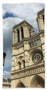 Notre Dame And Lamppost Beach Towel