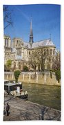 Notre Dame And The Seine Beach Towel