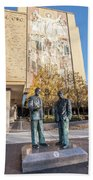 Notre Dame Library And Statue Beach Towel