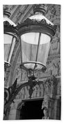 Notre Dame Street Lights Paris France Black And White Beach Towel