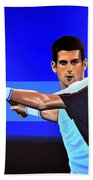 Novak Djokovic Beach Towel by Paul Meijering