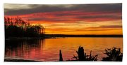 November Sunset Manasquan Reservoir Nj Beach Towel