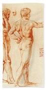 Nude Study Of Two Warriors Beach Towel