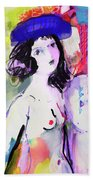 Nude With Flower Hat Beach Towel