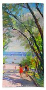 Nyack Park A Beautiful Day For A Walk Beach Towel by Ylli Haruni