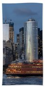 Nyc And Staten Island Ferry Beach Towel