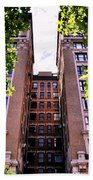 Nyc Building With Tree Overhang Beach Towel