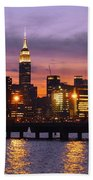 Sunset City Lights Beach Towel