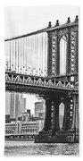 Nyc Manhattan Bridge In Black And White Beach Towel