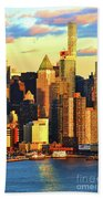 Nyc West Side In Gold And Blue  Beach Towel